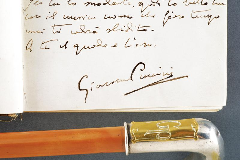 Puccini, Giacomo - stick and book with dedication to his lover - Image 4 of 8