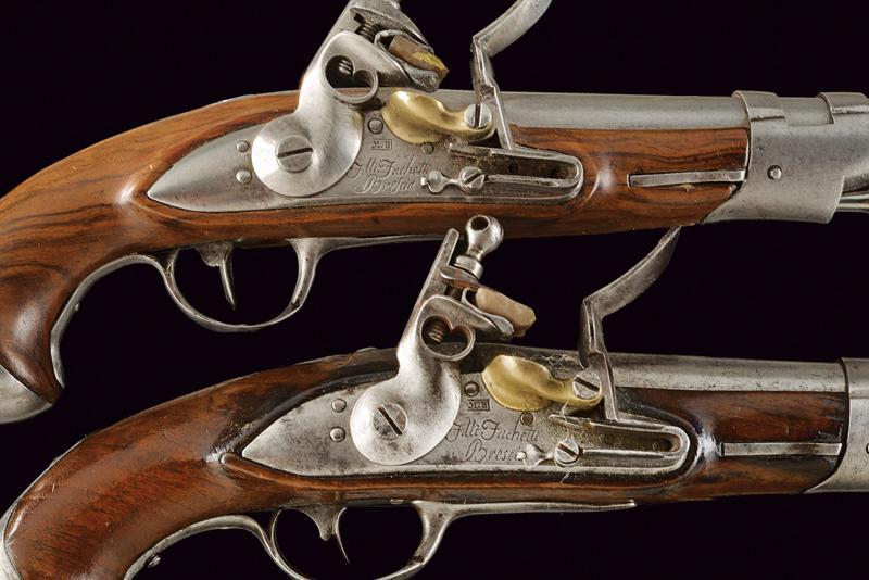 A pair of gendarmerie flintlock pistols by Facchetti - Image 3 of 6