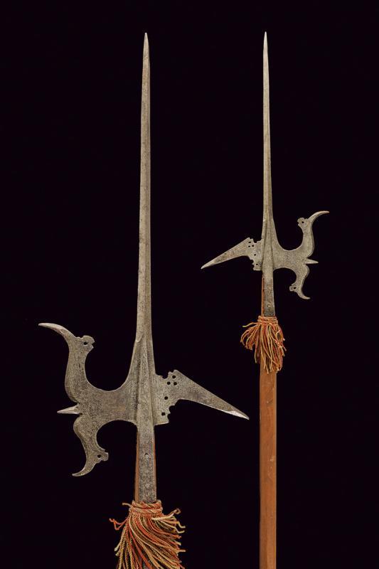 An engraved halberd