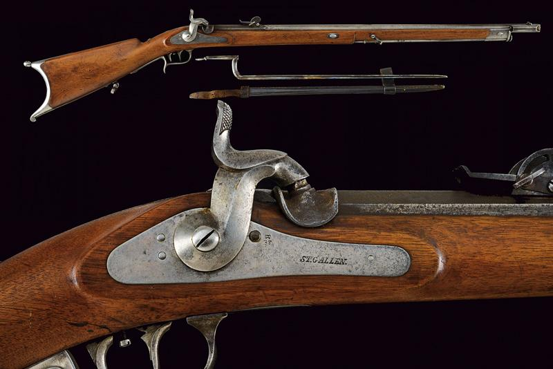 An 1851 model percussion carbine with bayonet
