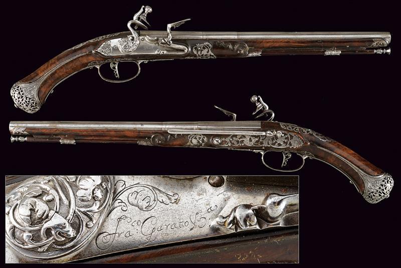 A beautiful pair of flintlock pistols by Francesco Garatto