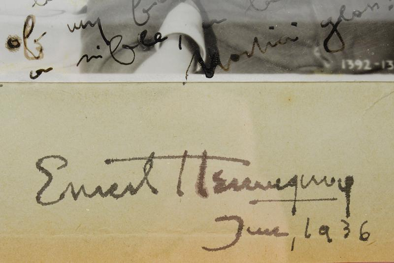 Hemingway, Ernest - picture from 'A Farewell to Arms' with inscription - Image 2 of 2