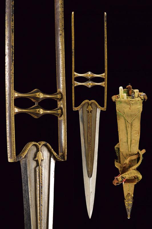 A beautiful katar with accessories and scabbard