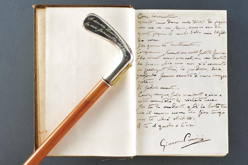 Puccini, Giacomo - stick and book with dedication to his lover