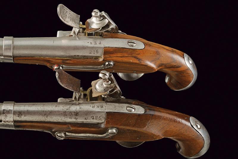 A pair of gendarmerie flintlock pistols by Facchetti - Image 4 of 6