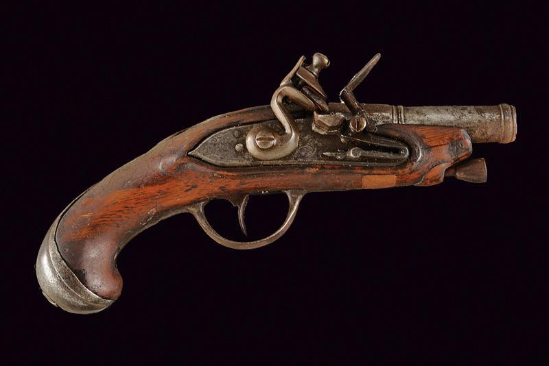 A flintlock travel pistol