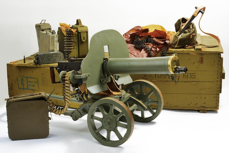 An interesting Maxim machinegun with wheeled mount and accessories (deactivated)