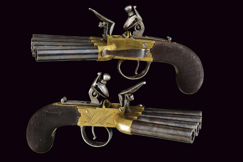 A very scarce pair of duck's foot flintlock pistols by Goodwin & Co. - Image 4 of 8