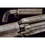 A percussion pepperbox revolver with long barrels