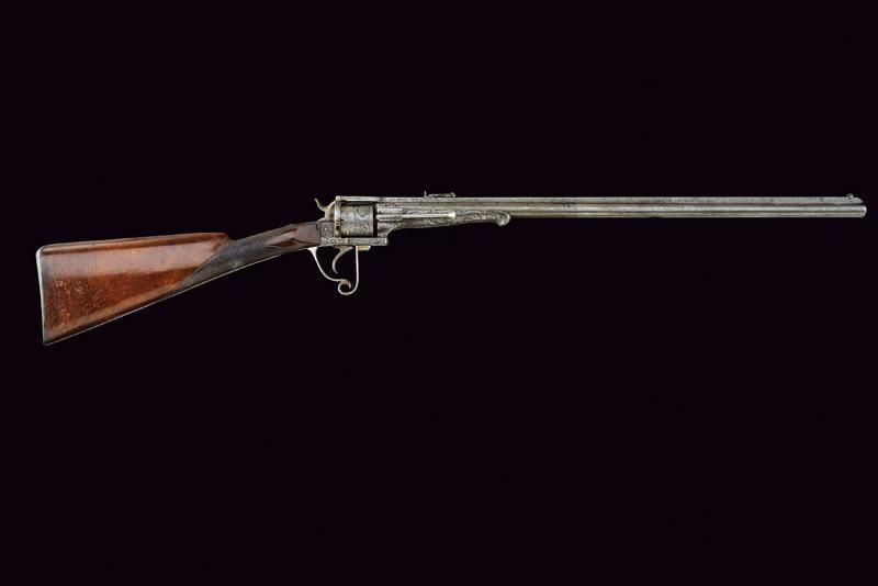A fine Lefaucheux pinfire revolving carbine - Image 8 of 8