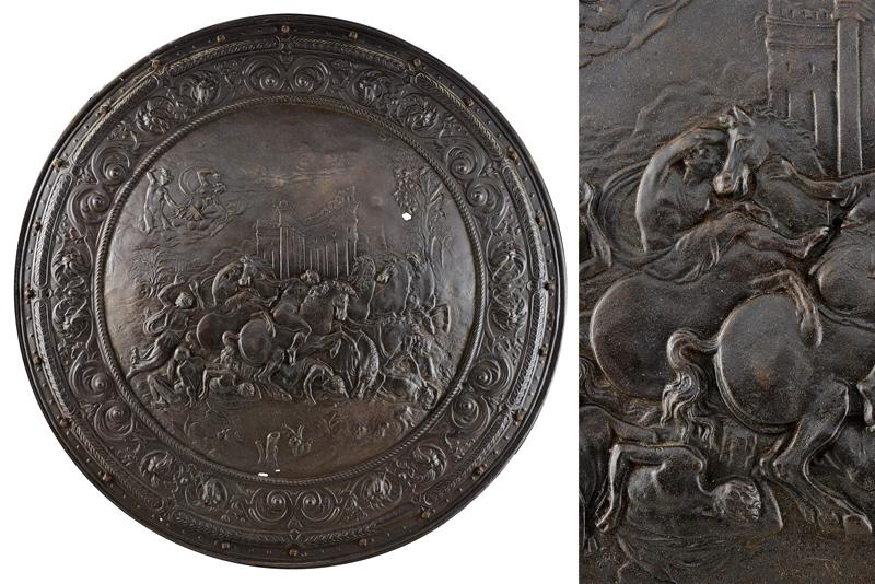 A relief decorated shield