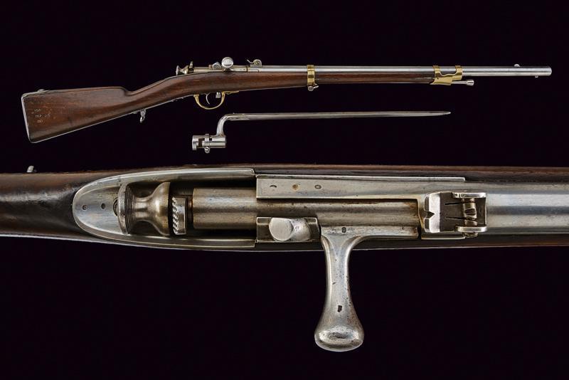 A breech loading needle fire rifle with bayonet