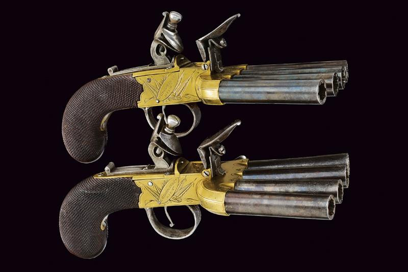 A very scarce pair of duck's foot flintlock pistols by Goodwin & Co. - Image 6 of 8