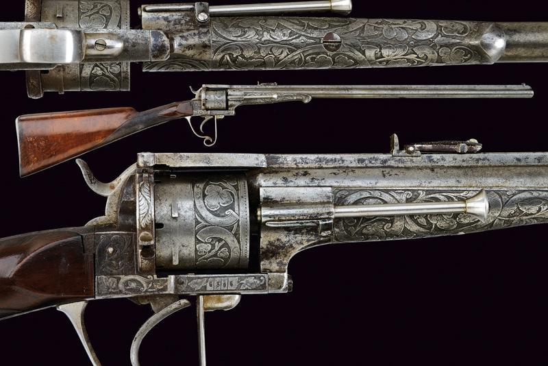 A fine Lefaucheux pinfire revolving carbine