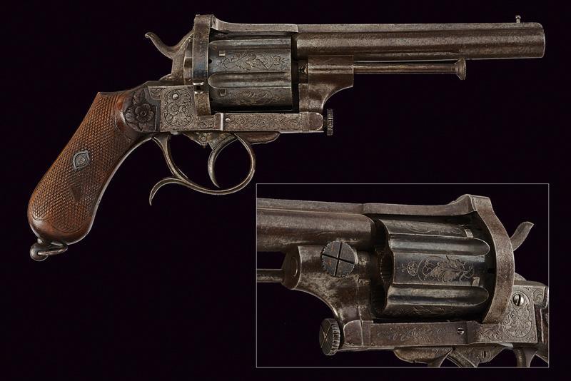 A fine pin fire revolver by Mazza