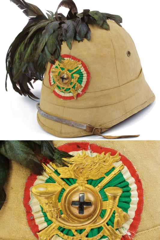 A colonial helmet for 'Bersaglieri'