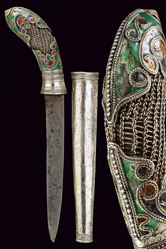 A silver decorated knife