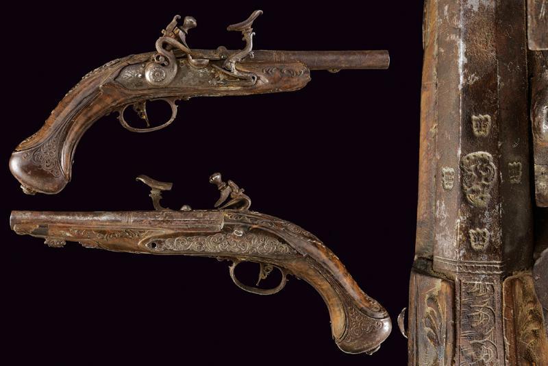 A pair of snaphaunce flintlock pistols