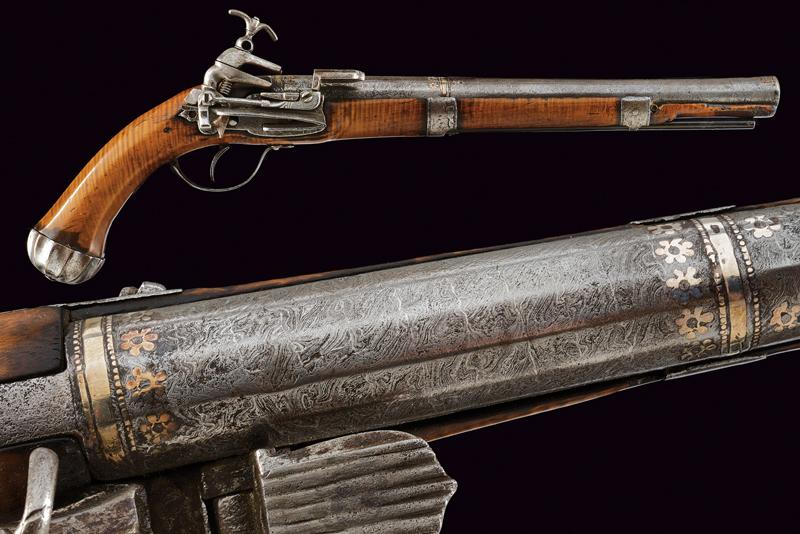 An interesting and rare miquelet flintlock pistol