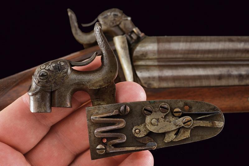 A rare cased four barrelled percussion gun by L. Menichetti - Image 9 of 19