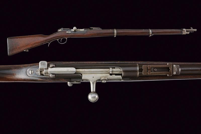 An 1886 Steyr model Kropatschek breech-loading rifle