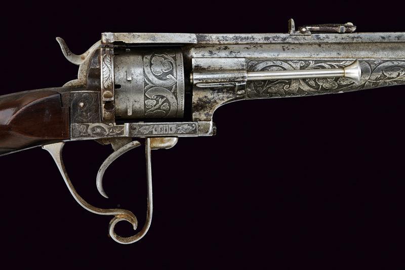 A fine Lefaucheux pinfire revolving carbine - Image 3 of 8