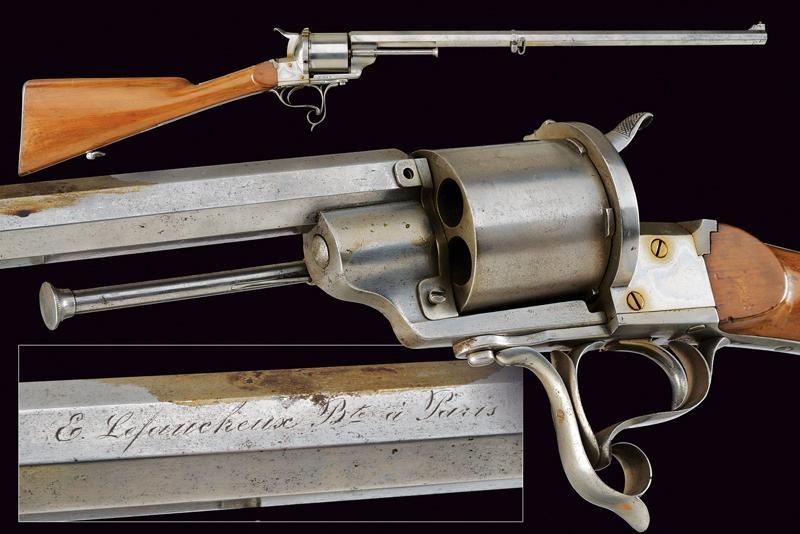 A Lefaucheux centerfire revolving rifle