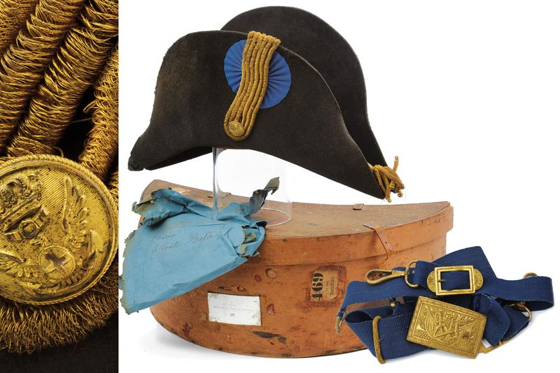 A navy cocked hat with belt and buckle