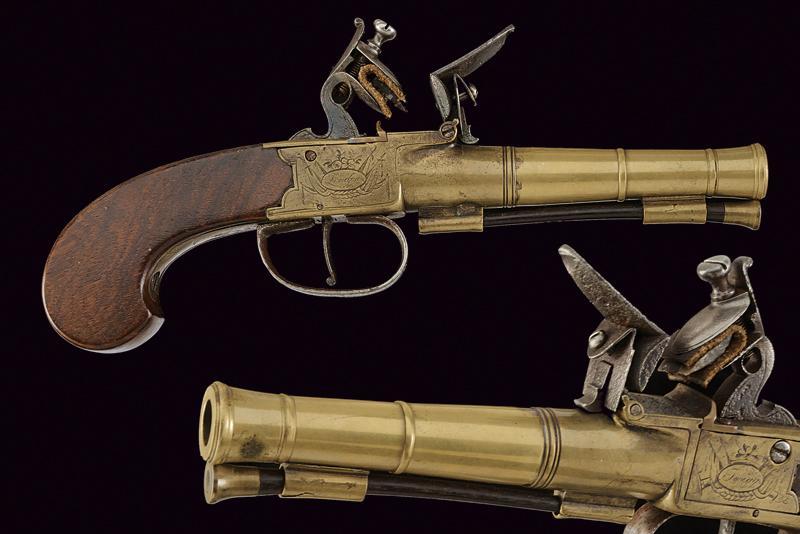 A naval flintlock boxlock pistol