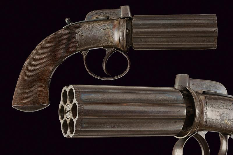 A percussion pepperbox revolver by Richards