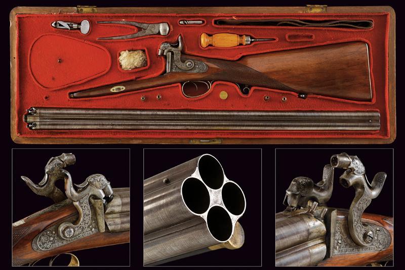 A rare cased four barrelled percussion gun by L. Menichetti