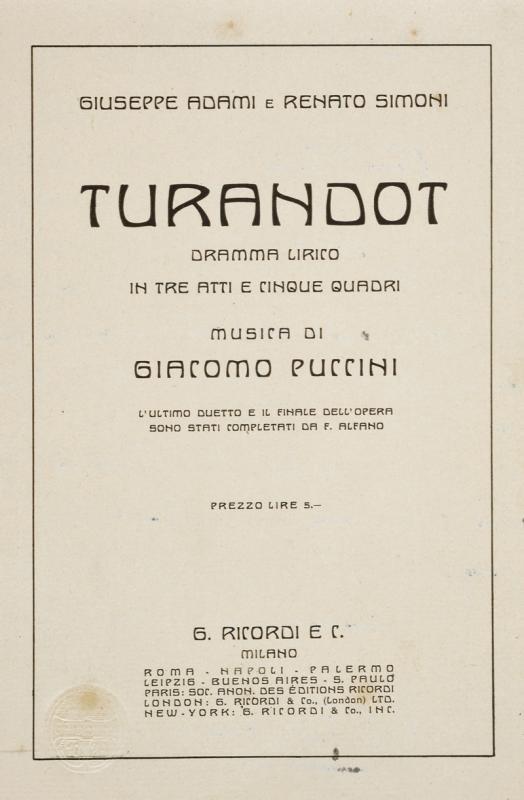 Toscanini, Arturo - Libretto of Puccini's Turandot - Image 2 of 6