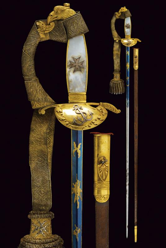 A rare knight's sword of the Military Naval Order of St. Stephen