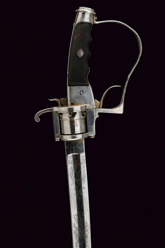 A very rare officer's sabre-revolver, 1864 patent - Image 2 of 11