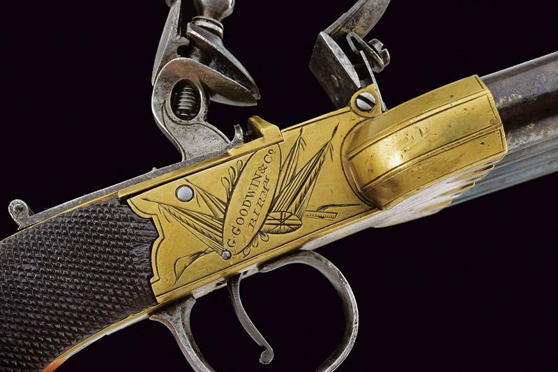 A very scarce pair of duck's foot flintlock pistols by Goodwin & Co. - Image 5 of 8