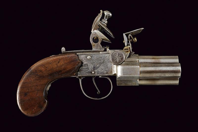A very scarce flintlock pocket pistol by Booth