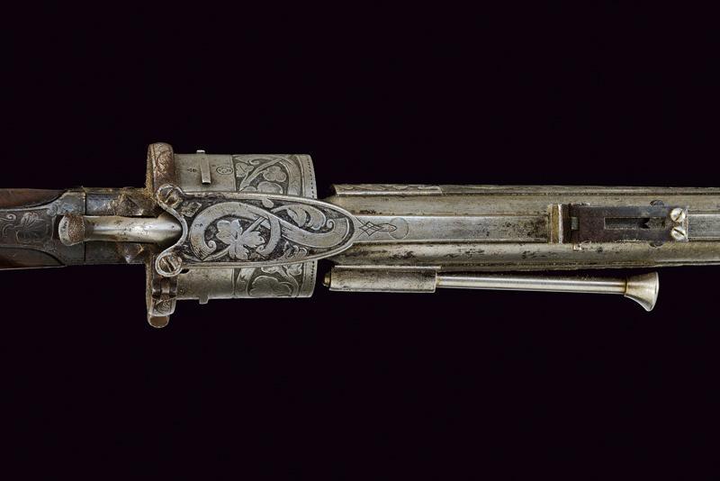 A fine Lefaucheux pinfire revolving carbine - Image 2 of 8