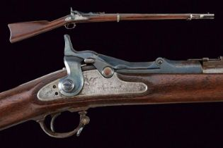An 1870 model Trapdoor Springfield rifle