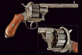 A rare ten-shot pin fire Chaineux revolver