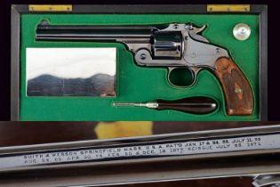 A cased S&W New Model No. 3 Single Action Russian Revolver