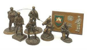 Six Phoenix World Reproductions bronzed figures of soldiers including Special Operations, Law firer,