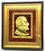 19th century gilt metal portrait plaque of Arthur Wellesley, 1st Duke of Wellington, looking to sini