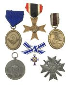 Six WW2 German medals/decorations comprising Red Cross Social Welfare Medal, bronze RAD Long Service