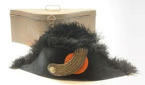 19th century cocked hat, probably French Naval officers, with black moleskin finish and ostrich feat