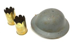 WW2 grey painted British Home Front steel helmet with original size 7 liner dated 1940 and marked BM