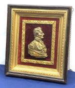 Victorian gilt metal portrait relief plaque of Field Marshal Sir Arthur Wellesley, 1st Duke of Welli