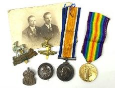WW1 pair of medals comprising British War Medal and Victory Medal awarded to 1708 Pte.J.A. Hankins H