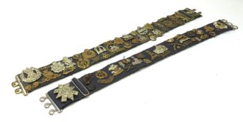 Collection of Glengarry and cap badges, shoulder titles, collar dogs, buttons etc mounted on two mil