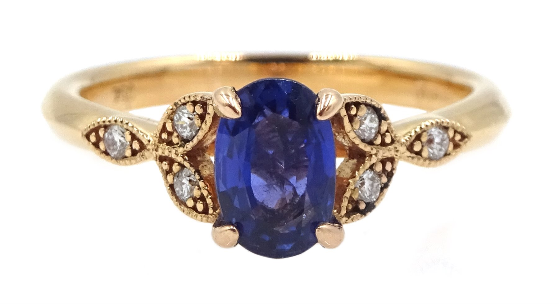 18ct gold oval sapphire ring, with diamond set shoulders, hallmarked, sapphire approx 0.80 carat