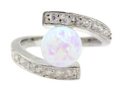 Silver opal and cubic zirconia ring, stamped 925